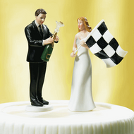Bride at Finish Line with Victorious Groom Cake Topper Set