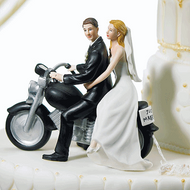 "Motorcycle ""Get-away"" Couple Cake Topper"