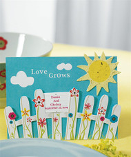"""Love Grows"" Fence with Seeded Paper Sun (Set of 12)"