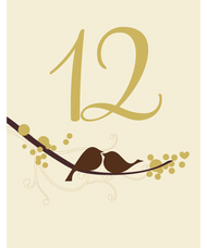 Love Bird Table Number Card (Set of 12)