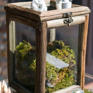 Rustic Wood and Glass Card Box or Wishing Well