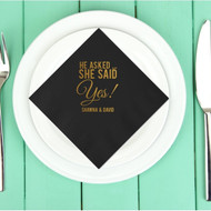 He Asked ... She Said Yes! Personalized Wedding Napkins | Engagement Party Napkins