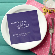 From Miss to Mrs. Personalized Bridal Shower Napkins | Bridal Shower
