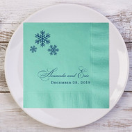 A Trio of Snowflakes Personalized Wedding Napkins | Wedding Reception Napkins