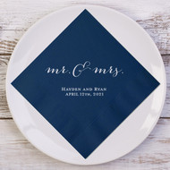 Rustic mr. & mrs. Personalized Wedding Napkins | Wedding Reception Napkins