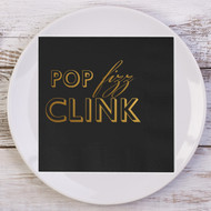 POP fizz CLINK Custom Wedding Napkins | Wedding Reception Napkins
