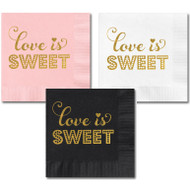 Metallic Gold Love is Sweet Party Napkins {Package of 25}