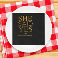 SHE SAID YES ... Personalized Napkins | Engagement Party Napkins