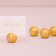 Brushed Gold Classic Round Place Card / Table Number Holders {Set of 8}
