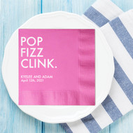 POP FIZZ CLINK. Personalized Wedding Napkins | Wedding Reception Napkins