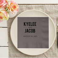 Bold Names with Wedding Date Personalized Wedding Napkins | Wedding Reception Napkins