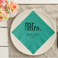 Bold mr. and mrs. {with Names and Date} Personalized Wedding Napkins | Wedding Reception Napkins