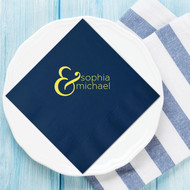 Fancy Bold Ampersand {with First Names} Personalized Napkins | Wedding Reception Napkins