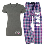 Personalized Name {with Heart} Deep Grey Fitted Tee and MATRON OF HONOR Mali Plaid Flannel Lounge Pant | Matron of Honor Pajamas