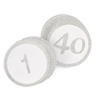 Sparkly Silver Glitter Table Number Cards {1-40}