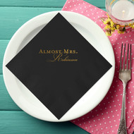 ALMOST MRS. with Scripty Last Name Personalized Bridal Shower Napkins