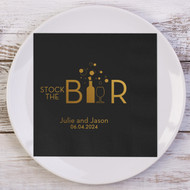 Stock the Bar Personalized Wedding Napkins | Wedding Reception Napkins
