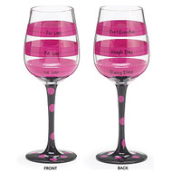 Black and Hot Pink Fill Line Wine Glass {Sold Individually}