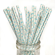 Light Blue Mini Polka Dot Eco-Friendly Paper Straws {Package of 25}