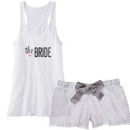 the BRIDE {with Heart} Flowy Racerback Tank and Charcoal Striped Seersucker Boxer Set