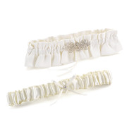 Vintage Chic Beaded Ivory Garter Set