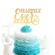 HAPPILY Ever AFTER {with Hearts} Brushed Gold Acrylic Cake Top