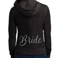 Scripty Bride Glitter Print Lightweight Juniors Jersey Full-Zip Hoodie
