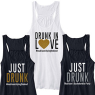 DRUNK IN LOVE or JUST DRUNK {with Custom Text} Flowy Racerback Tank | Bachelorette Party Apparel