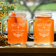 Rustic Personalized Mason Drinking Jars for the Bridal Party