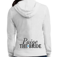 Bridal Party with First Name + Heart Lightweight Juniors Jersey Full-Zip Hoodie