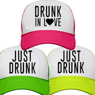 b9d8a320 Drunk in Love {with Heart} or Just Drunk Neon Trucker Hat | Bachelorette  Party