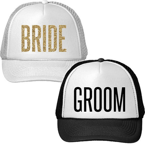 GROOM and Glitter BRIDE Trucker Hat Set  079b5551193a