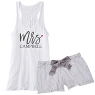 Personalized Mrs. {with Last Name} Flowy Racerback Tank and Striped Seersucker Boxer Set