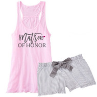 Matron of Honor {with Heart} Flowy Racerback Tank and Striped Seersucker Boxer Set