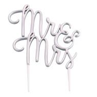 Mr & Mrs Cake Topper in Silver