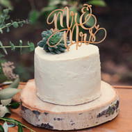 Mr & Mrs Wood Cake Pick