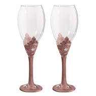 Rosey Gold Wine Glass Set with Decorative Rhinestones