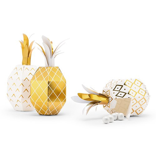 fe4341e97aa Gold Foil Pineapple Party Favor Boxes {Package of 12}