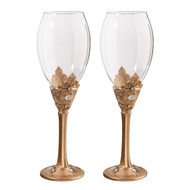 Faux Gold Wine Glass Set with Decorative Rhinestones