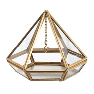 Gold Prism Ring Holder with Hanging Chain for Rings