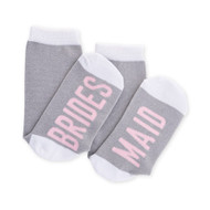Bridesmaid Sock in Grey with White and Light Pink Accents