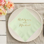 Rustic Script Names Personalized Napkins   Wedding Reception Napkins