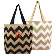Personalized Chevron Natural Jute Tote Bag
