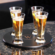Round Beer Flight Sampler with 4 Piece Glass Set