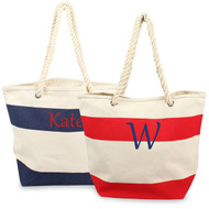 Personalized Striped Canvas Tote with Rope Handles