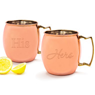 His/Hers Moscow Mule Copper Mug Set