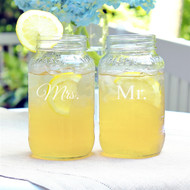 Mr. and Mrs. 26 oz. Ball Jar Glassware Set