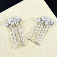 Rhinestone and Pearl Hair Comb (Set of 2)