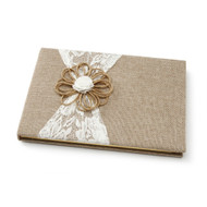 Burlap and Lace Guest Book with Jute Flower