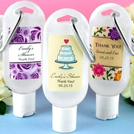 Personalized Hand Sanitizer Favor with Clip in Themed Designs